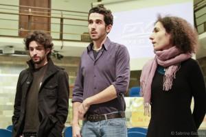 """Nicholas Di Valerio, Marco Mastino e Ginevra Tomei durante il Festival del Cinema Sociale di Arezzo mentre presentano il documentario """"Meraviglia"""""""
