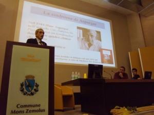 """Il dott. Arduino durante la sua presentazione al convegno """"Conoscere comprendere e affrontare la Sindrome di Asperger"""""""